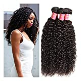 JieFar 3 Bundles Brazilian Virgin Curly Hair Kinky Wave Grade 7A Remy Human Kinky Curly Hair Extensions,Unprocessed Natural Color Weaves (28 28 30)