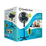 Comfort Zone 3-Speed Adjustable 16-inch Oscillating Pedestal Fan with Folding Base and Tilt