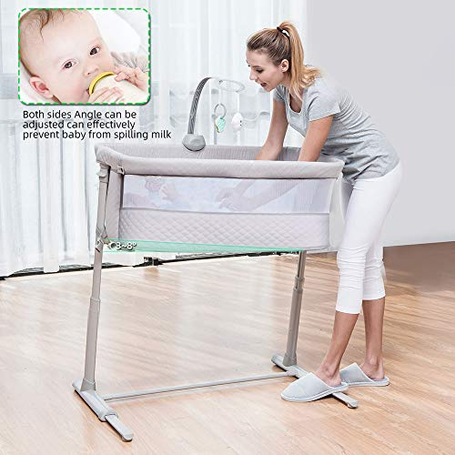 51cgpJ8aTPL - Baby Bassinet,RONBEI Bedside Sleeper Baby Bed Cribs,Baby Bed To Bed, Newborn Baby Crib,Adjustable Portable Bed For Infant/Baby Boy/Baby Girl (Bassinet)