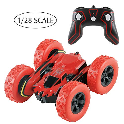 BIG HOUSE Remote Control Car, 1/28 Scale RC Car Double Sided 360° Rotating 4WD Stunt Cars 2.4 GHz Off Road Electric Race High Speed Toys Cars as Christmas Xmas New Year Gifts for Kids (Red Stunt Car)