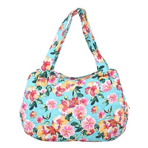 - Quilted Cotton Handle Bags Shoulder Bag (Blue&Pink)