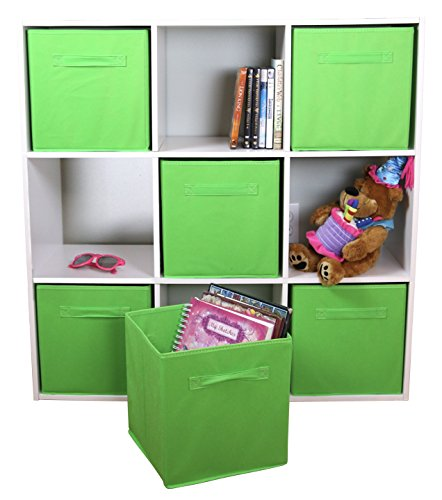 DUAL HANDLE by ADORN, Foldable Cloth Storage Cube Basket Bins Organizer Containers Drawers, 6 Pack -- Lime Green (Storage Cubes With Baskets)