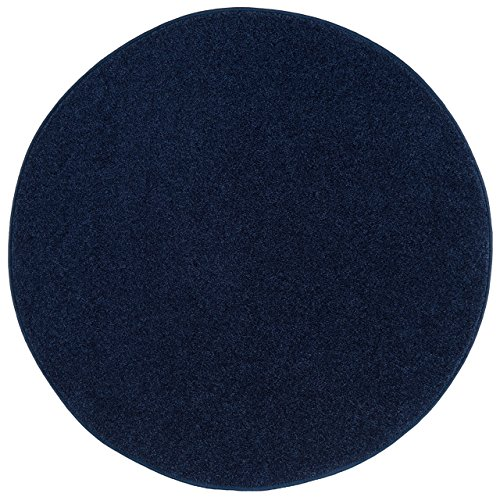 Nance Industries OurSpace Bright Area Rug, 6-Foot Round, Midnight Navy Blue