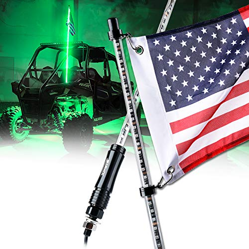 Xprite 5ft (1.5M) LED Whip Lights Flag Pole Safety Antenna for Offroad Jeep Sand Dune Buggy UTV ATV 4X4 Polaris Truck Yamaha Can am Maverick X3 - GREEN