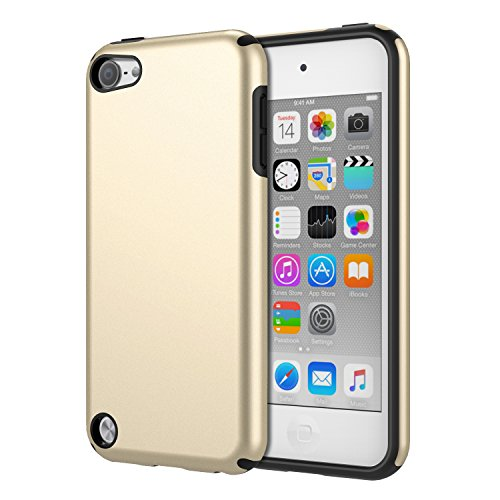 iPod Touch 6 Case, iPod Touch 5 Case, MoKo 2 in 1 Shock Absorbing TPU Bumper Ultra Slim Protective Case with Hard Back Cover for Apple iPod Touch 6th / 5th Generation, Gold