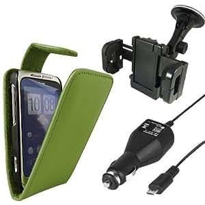 Paquete Quad ONX3 HTC Wildfire S - Verde protectora del cuero del tirón + LCD Protector de pantalla + horquilla del sostenedor del coche + 12v Cargador de Coche