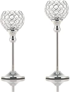 Vincidern Crystal Tea Light Candle Holders Set of 2, Dinner Candlesticks Holders Silver for Table, Home Decor Accents,Wedding, Housewarming Gifts (Pack of 2Pcs)