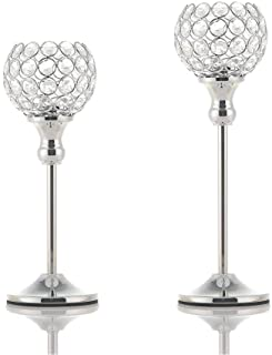 VINCIGANT Set of 2 Silver Crystal Pillar Votive Candle Holders Candelabra Dining Room Table Centerpiece Decoration