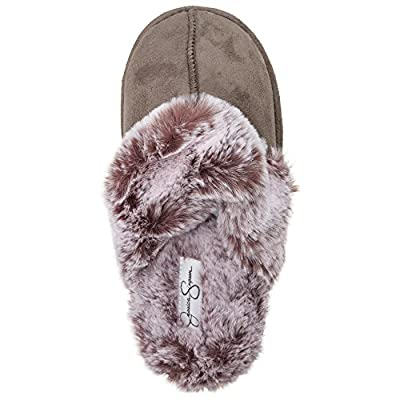 Jessica Simpson Comfy Faux Fur Womens House Slipper Scuff Memory Foam Slip On Anti-Skid Sole