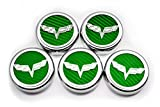 American Car Craft 053013-GRN Green Carbon Fiber Fluid Cap Cover Set, 5 Piece (Corvette Flag Emblem)