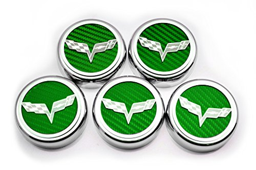American Car Craft 053013-GRN Green Carbon Fiber Fluid Cap Cover Set, 5 Piece (Corvette Flag Emblem) by American Car Craft