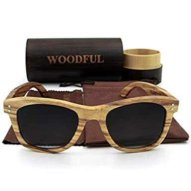 20d8515ab34 Amazon.com  Wooden Sunglasses with Round Bamboo Glasses Case (Black ...