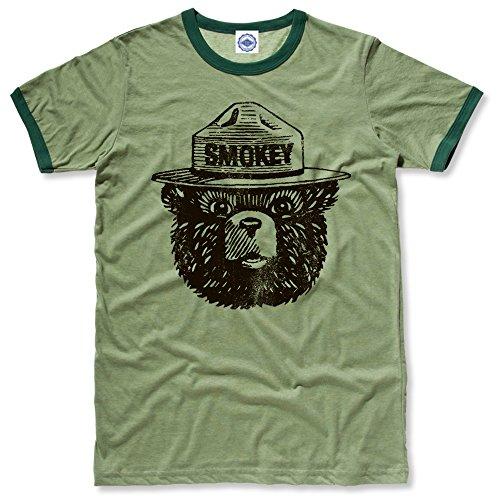 Hank Player U.S.A. Official Smokey Bear Men's Ringer T-Shirt (L, Heather Green)