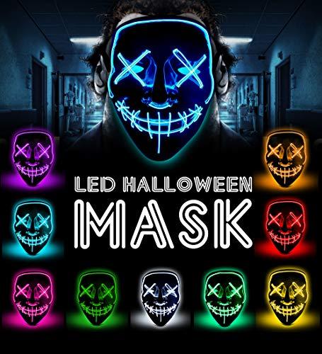 LED Halloween mask - The Purge mask 2018 hot Glowing mask led Rave face mask 5000+ Instagram Like for Men Women