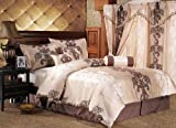7 Piece Queen Isabel Bedding Comforter Bedding Set Beige