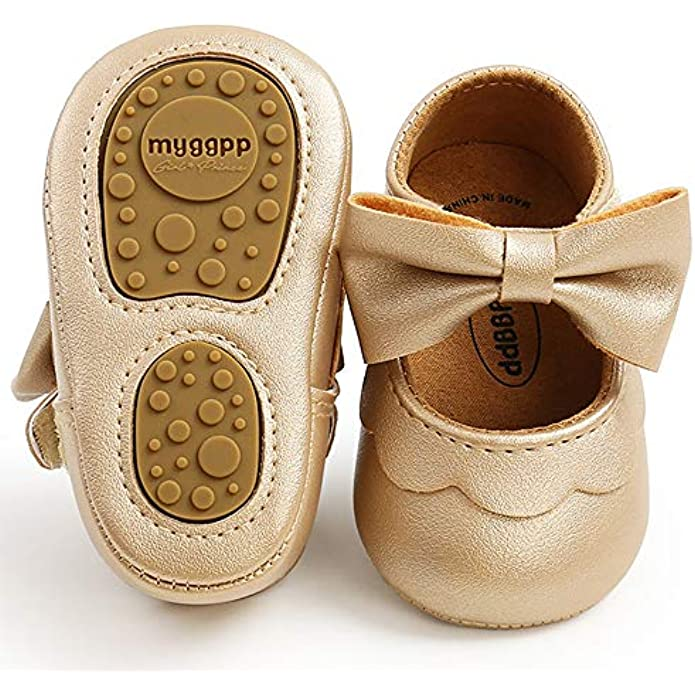 LAFEGEN Baby Girls Mary Jane Flats with Bownot Non Slip Soft Sole PU Leather Newborn Infant Toddler First Walker Cirb Dress Shoes