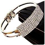 Lisingtool Lady Elegant Bangle Wristband Bracelet Crystal Cuff Bling Gift (Gold)