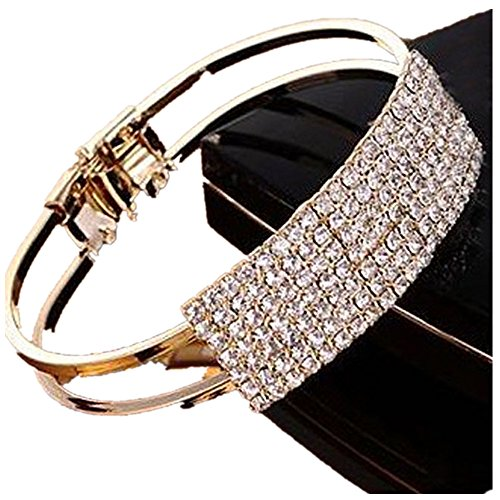 Lisingtool Lady Elegant Bangle Wristband Bracelet Crystal Cuff - Fashion Bracelets Under $5