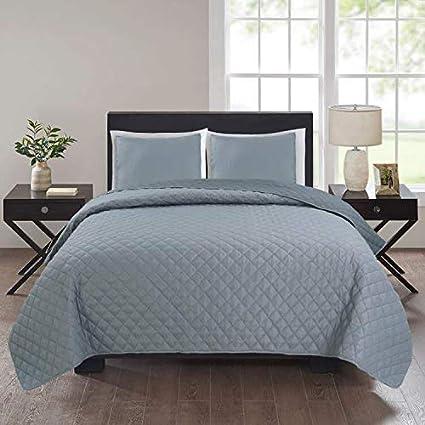 Colcha bouti gris oscuro - gris claro (235 x 255 cm) para cama de 135 cm + 2 fundas cojines 50 x 50 cm