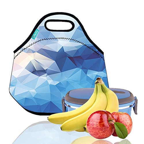 Lunch Tote, OFEILY Lunch boxes Lunch bags with Fine Neoprene Material Waterproof Picnic Lunch Bag Mom Bag (Blue Diamond)