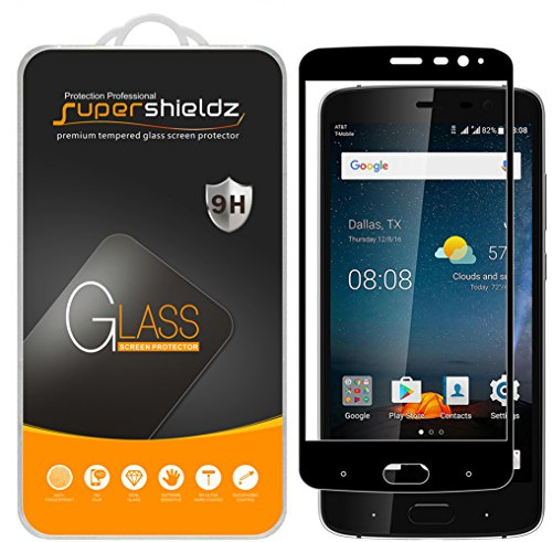 (2 Pack) Supershieldz for ZTE Blade V8 Pro Tempered Glass Screen Protector, (Full Screen Coverage) Anti Scratch, Bubble Free (Black)