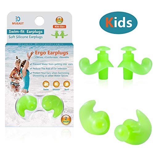 Upgraded Swimming Ear Plugs, 2 Pairs Waterproof Reusable Silicone Ear Plugs for Swimming Diving Molded Professional Soft Flexible Showering Surfing and Other Water Sports (Kids)