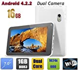 WolVol (Android 4.2, 16GB Hard Drive, 1GB RAM) 7 inch Tablet Touch Screen with Dual Cams and Dual Core Processor, WIFI and Installed Games/Apps – WHITE, Best Gadgets