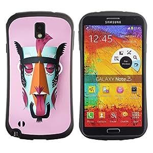 Hybrid Anti-Shock Bumper Case for Samsung Galaxy Note 3 / Mayan God Colorful Mask