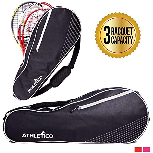 (Athletico 3 Racquet Tennis Bag | Padded to Protect Rackets & Lightweight | Professional or Beginner Tennis Players | Unisex Design for Men, Women, Youth and Adults (Black))