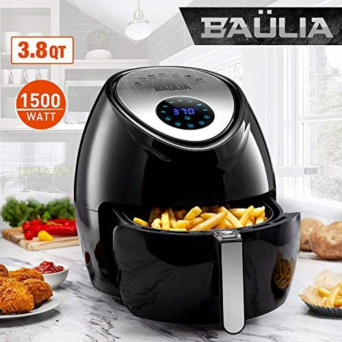 Baulia AF810 Fryer 3.8QT - Easy to Use Digital Air Machine - Cook Healthy, Nutritious Food with No Oil - LCD Screen Control - Insulated Handle, 3.8 QT, Black