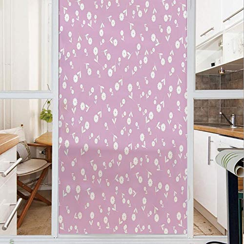 Decorative Window Film,No Glue Frosted Privacy Film,Stained Glass Door Film,Cute Floral Heart Leaf Flourish Western Elegance Motifs with Nature Influences,for Home & Office,23.6In. by 47.2In Lilac Whi
