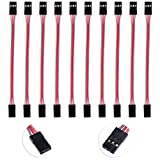 10PCS HobbyPark Flexible 3 Pins 10cm Servo Extension Lead Wire Cable Male to Male 60 Cores for Futaba JR Style Plug RC Aircraft / Quadcopter / KK MWC Control Board