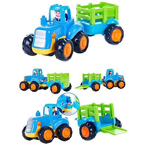 Wolson Push and Go Friction Powered Car Toys Engineering Vehicles Set Tractor Bulldozer Mixer Truck and Dumper for Baby Toddlers by Wolson (Image #2)