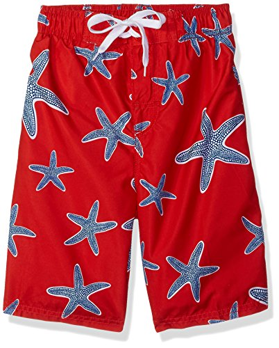 Kanu Surf Boys' Big Starfish Sea Life Quick Dry Beach Board Shorts Swim Trunk, red, Medium (10/12) ()