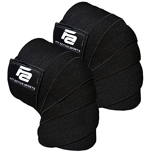 Fit Active Sports Weight Lifting Knee Wraps for Weightlifting, Powerlifting, Gym Workout, Cross Training WODs - Knee Straps for Squats - Men, Women - 72