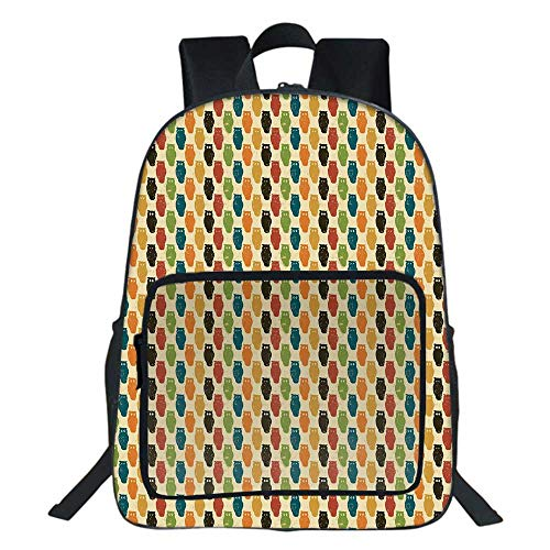 Owls School Backpack,Retro Styled Colorful Animal Silhouettes with Grunge Display Halloween Inspirations Decorative For Teens Girls Boys,11.8