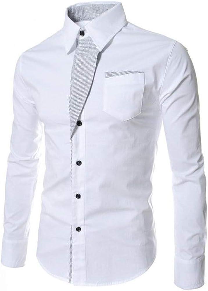 Camisas Casuales para Hombres Camisa Delgada de Manga Larga Solapa de Color Liso Tops de Ocio Camisas Blancas con Botones completos Ropa Comercial Diaria