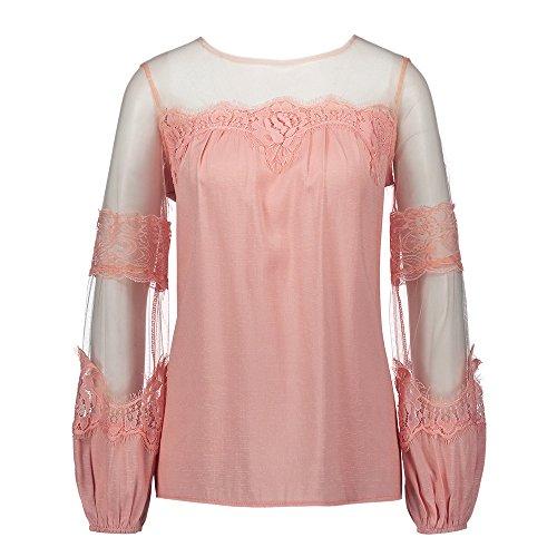 shirt Rose Femme Elgant Lin T en Lache Youthny Manches Longues pfEPwPqR