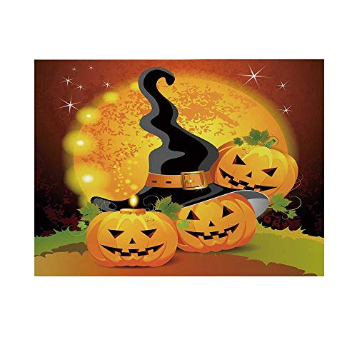 Halloween Photography Background,Witches Hat Spooky Pumpkins Magical Night Autumn Nature Full Moon Backdrop for Studio,10x6ft -