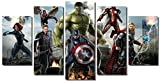 Picture Sensations Framed Canvas Art Print, Marvel Avengers Age of ultron Super Hero, Captain America, Iron Man, Hulk, Thor, Black Widow, Hawkey - 60''x32''