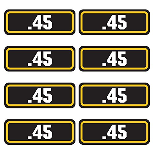 45 ammo sticker 8 PACK - LAMINATED Can Box Vinyl Decal bullet (Army Label)