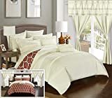 Chic Home CS0736-AN 20 Piece Adina Complete Bed Room In A Bag Super Set Pinch Pleated Design Reversible Geometric Pattern Comforter Set, Sheet, Window Treatments And Decorative Pillows, King, Beige