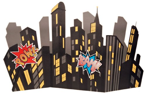 Superhero Comics Party Supplies Scene Setter   Standup City Scape Room Decoration