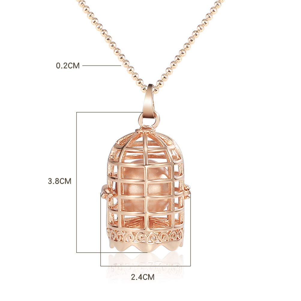 Mrsrui Elegant Bird Cage Ball Pendant Necklace 18K Gold Plated