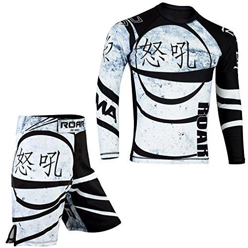Fighting Gear (ROAR MMA Grappling Cage Fighting Rash Guard & BJJ Kickboxing Short UFC Cross Training Gear Gym Wear (Ninja-Set-1, Medium))