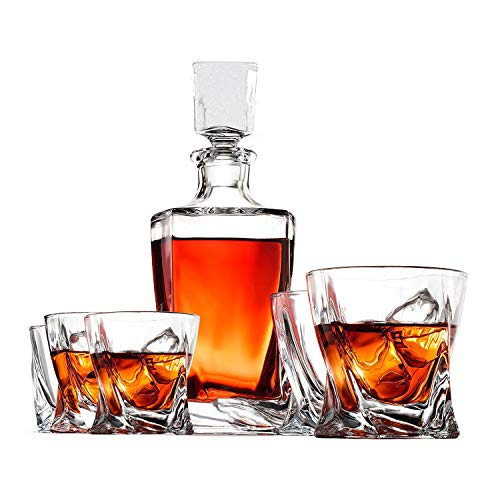 Whiskey Decanter Set by Opul (10 Piece Set) - Includes Crystal Whiskey Glasses Set, Whiskey Stones, Stainless Steel Tray and Tongs - Elegantly Designed to Last the Test of Time
