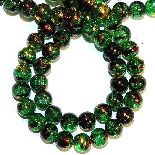 Bead Jewelry Making Green 8mm Round Crackle Metallic Swirl Drawbench Glass Beads ()