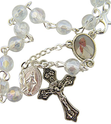 Glass Prayer Bead Auto Rosary with Pope Francis Medal Centerpiece, 5 3/4 Inch