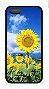 Under The Blue Sky Sunflower Cover Case Skin for iPhone 5 5S Soft TPU Black by lolosakes