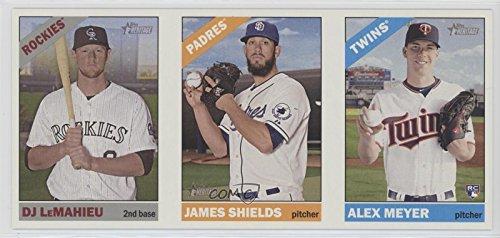 DJ LeMahieu; James Shields; Alex Meyer (Baseball Card) 2015 Topps Heritage High Number - Box Loader Ad Panel #641-555-606 (Panel 555)